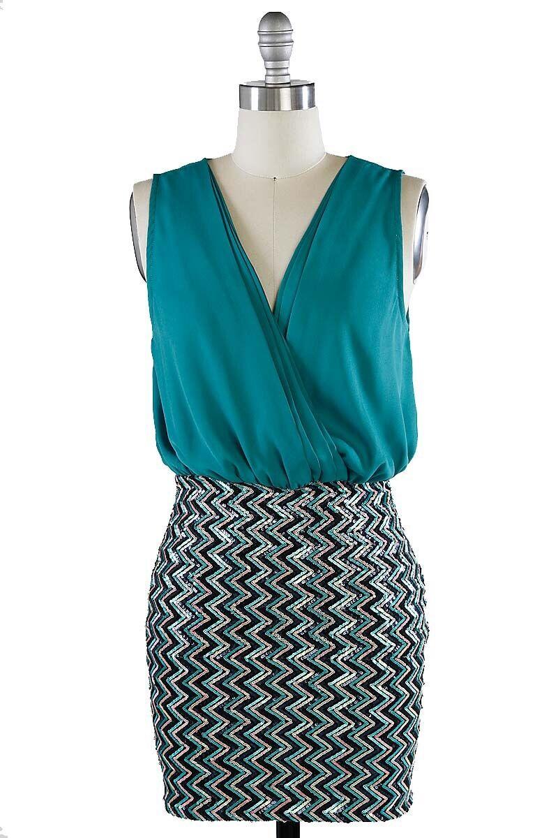 Miss Pailletten Hosen Bodycon Kleid Farbe Aquamarin