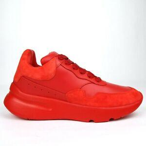 Details about Alexander McQueen Damen Rotes Leder/Veloursleder Runner Sneaker 508291 6409