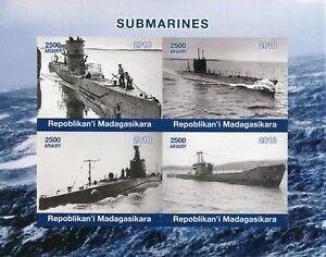 Madagascar 2018 MNH Submarines 4v IMPF M/S Boats Ships Nautical Stamps