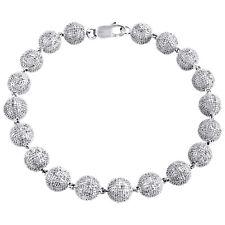 """Mens White Gold Sterling Silver 3D Lab Diamond Bullet Chain Bracelet 7mm 8/"""""""
