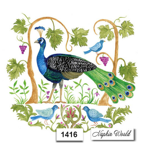 1416 TWO Individual Paper LUNCHEON Decoupage Napkins Details about  / PEACOCK BIRD TROPICAL