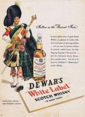 Vintage Drink Advertising poster  A4 RE PRINT Dewars White Label Scotch Whisky