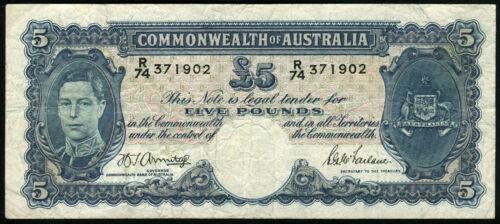 F AUSTRALIA 5 Pounds 1939-1952 Banknote Note Armitage,McFarlane P 27b P27b