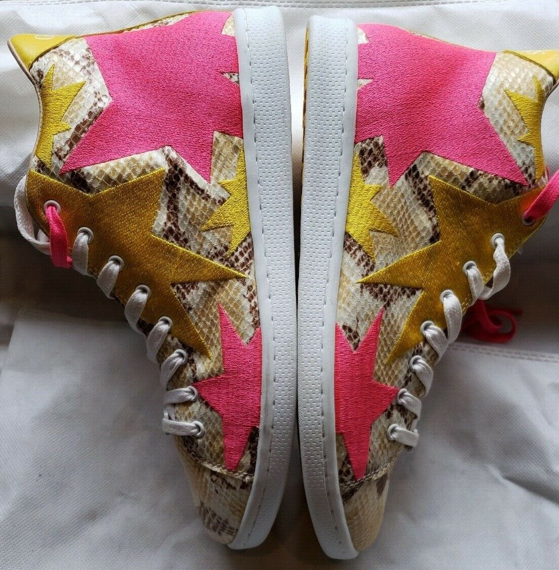 NEW Guess Python Print Yellow and Pink Pink Pink Stars High Top Sneakers Size EU39 US9 d3a74a