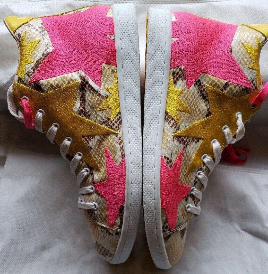 NEW Guess Python Print giallo giallo giallo and rosa Stars High Top scarpe da ginnastica Dimensione EU39 US9 cf4e4f