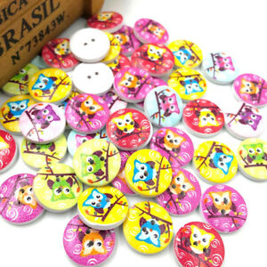 New-50pcs-Cute-Owl-Wood-Buttons-20mm-Sewing-Craft-Mix-Lots-WB49