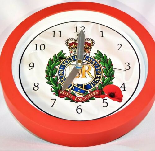 Royal Engineers Cap badge PICTURE CIRCLE WALL CLOCK 10 INCH DIA