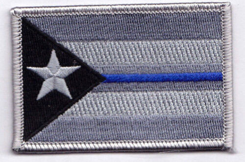 PUERTO RICO BLUE LINE FLAG Iron On Patch Law Enforcement