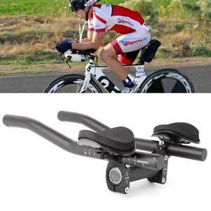 Racing-Bike-Bicycle-Triathlon-Aero-Rest-Handle-Bar-Clip-On-Tri-Bars-Black