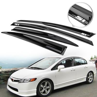 Window Visor Fits 2006-2011 Honda Civic 4Dr Mugen Style Acrylic Smoke Tinted Sun Rain Wind Guards Shield Vent Wind Deflector by IKON MOTORSPORTS 2007 2008 2009 2010