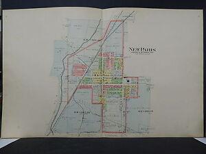 New Paris Ohio Map.Ohio Preble County 1912 Map City Of New Paris L19 01 Ebay