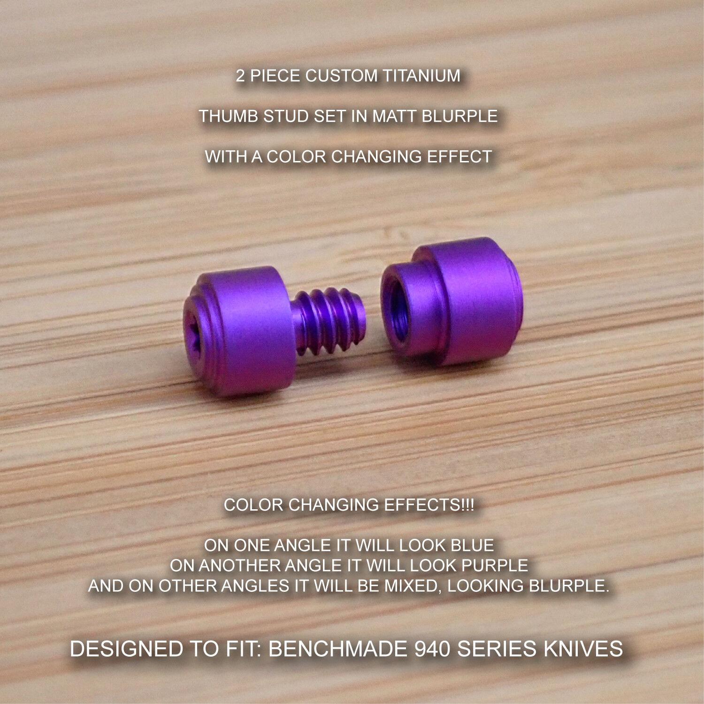 Benchmade 940-1 940-2 Osborne 2pc Titanium Thumb Stud Set Anodized MATT bleuRPLE