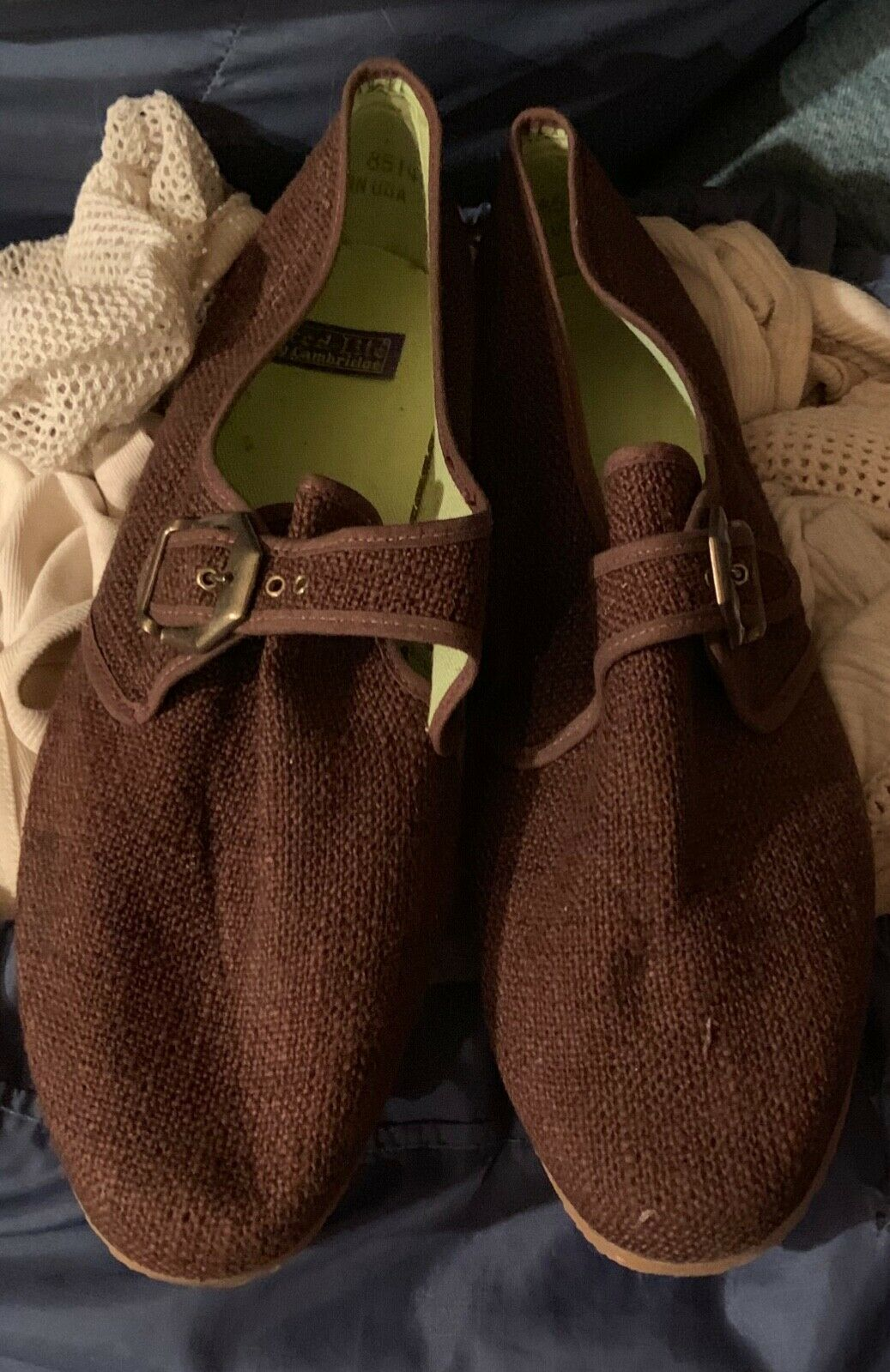NOS TRED-LITE Brown Canvas Slip Ons Size 81 2