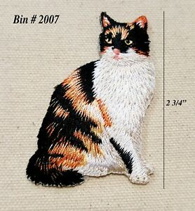 1PC~BLACK AND BROWN CAT ~IRON ON EMBROIDERED APPLIQUE