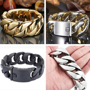 24-31mm-Heavy-Cool-316L-Stainless-Steel-Men-039-s-Curb-Cuban-Cuff-Bracelet-Bangle
