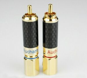 1-Paire-Pure-Cuivre-Plaque-Or-8-5-mm-Lotus-Plug-Preamplificateur-DAC-Amplificateur-RCA