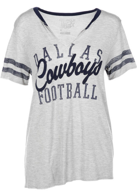 a6cb382a8 Dallas Cowboys T-shirt Women s Tee NFL Bennett Slit Gray DCM Medium ...