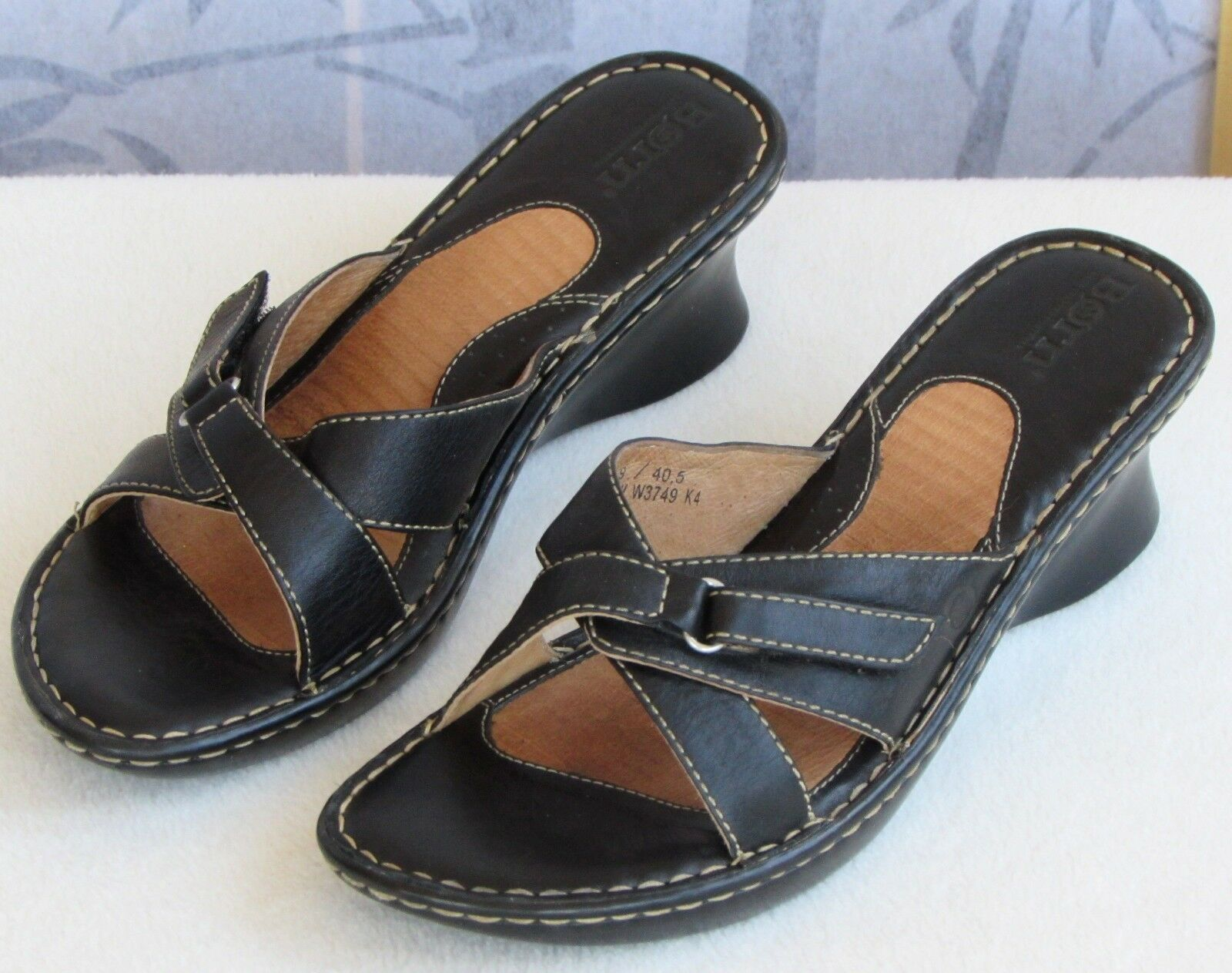 9 Leather | Born Women Black Leather 9 Cross Strap Open Toe Wedge Pump Slip On Sandal Shoe 6bf603