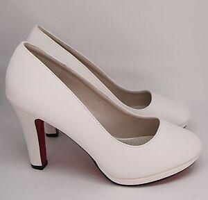 Zapatos de Novia Noche Zapatos Plataforma Blanco Marfil Cuero Óptica B 325-PB