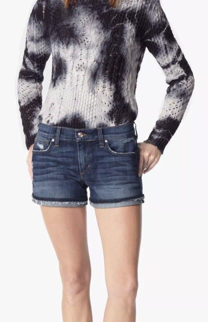 Joes jeans Womens Dark Wash Raw Rolled Cuff Denim Shorts sz 26