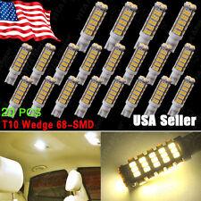 20 X T10 194 Camper Trailer 12V LED Lights 68 SMD Warm White W5W 168
