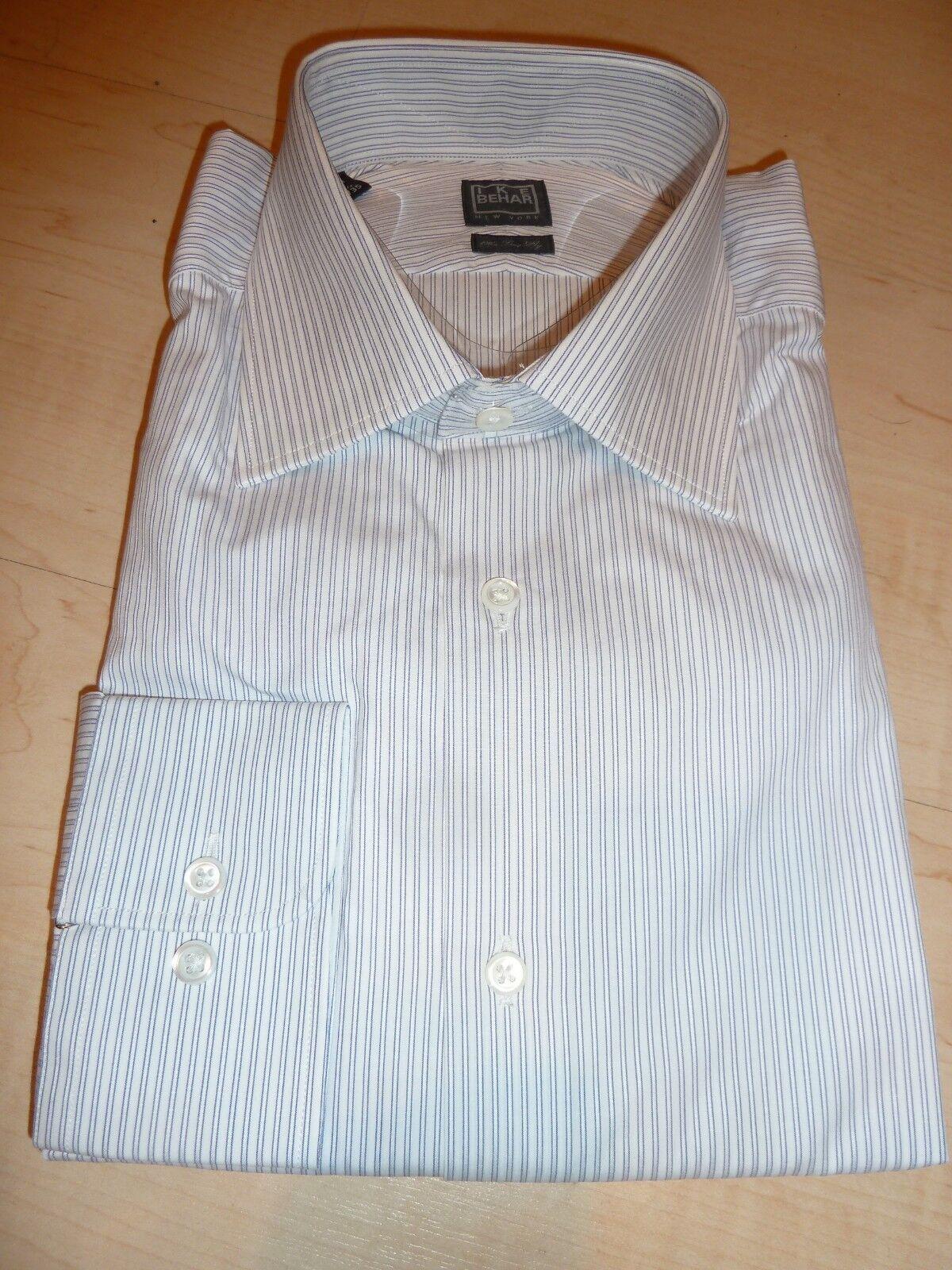 NEW  190 IKE BEHAR MENS SHIRT Sz 15.5 34 35 120s Two Ply Cotton Weiß stripe BC2