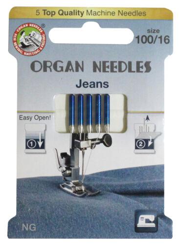 Nähmaschinennadeln Organ Jeans Stärke 100 System 130//705 H