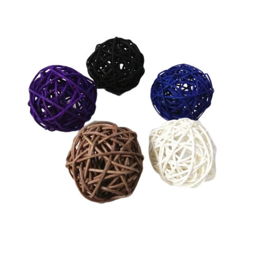 5x Rattan Wicker Ball Ornament Christmas Party Table Decoration Mixed 6cm #1