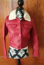 NEW Coach Womens RED Lamb Leather Jean Jacket Sherling Collar Size XS NWT ITALY