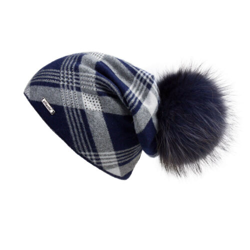 Women Oversized Slouchy Beanie Hat with Plaid Pattern with fur pompom 17603