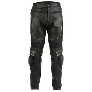 Turin-Noir-pour-hommes-cuir-de-vache-moto-pantalon-avec-sliders-amp-protection