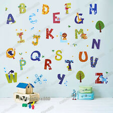 52pcs Animals A-Z Alphabet Letters Wall Stickers Art Decor Kids Nursery Decal