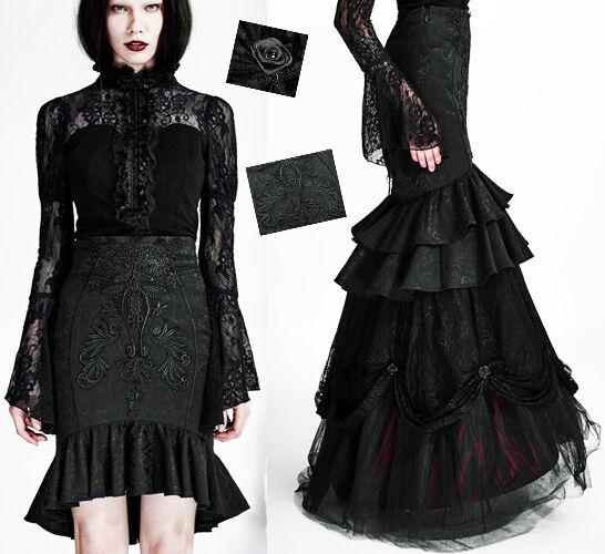 Jupe transformable gothique lolita baroque broderies jacquard traîne Punkrave