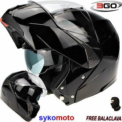 Motorcycle Motorbike Flip Up Helmet 3GO E335 Adult Rider ECE ACU Gold Approved Biker Touring Dual Visor Modular Helmet White XS