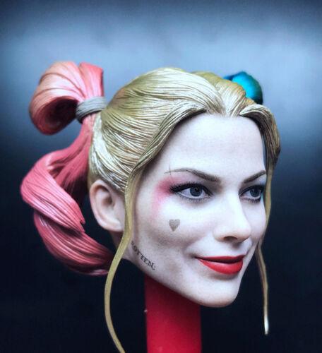 Custom 1//6 Quinn Clown Girl Joker Female Head Carving PVC Sculpt Model F//HT Toy