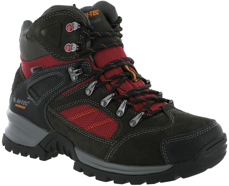 Hi-Tec Mount Dialbo Waterproof Dk Charcoal Lace Up Mesh Suede Mens Ankle Stiefel