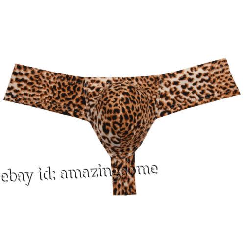 Men Sport Leopard Posing Brazilian Bikini Underwear Bulge Pouch Thong Boxer Pant