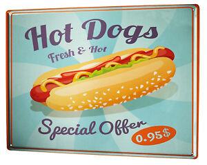 Tin Sign XXL Retro  hot dog