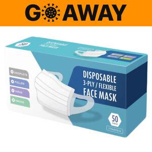50x Mundschutz 3-Lagig OP Maske Mund Atemschutz Einweg Gesichtsmaske Gummiband