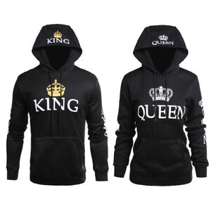Details about Couple Pullover King Queen Sweatshirt Matching Hooded Tops Long Sleeve Hoodies