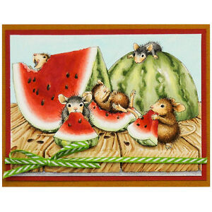 Image Is Loading House Mouse Summer Snacking Wood Mounted Rubber Stamp