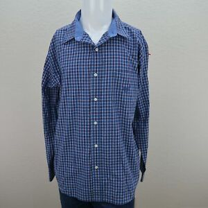 Chaps-Blue-Long-Sleeve-Button-Front-Cotton-Blend-Check-Casual-Shirt-Mens-XL