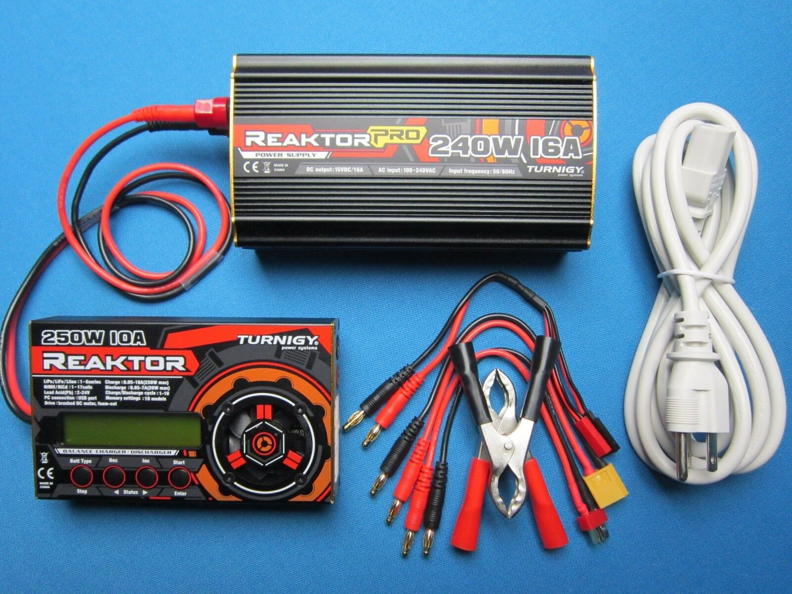 TURNIGY REAKTOR AC DC BALANCE CHARGER & POWER SUPPLY COMBO 250W 10A 1-6S LIPO US
