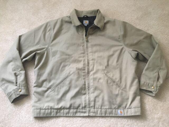 Carhartt J293 Quilt Lined Twill Work Jacket Khaki XXL   eBay