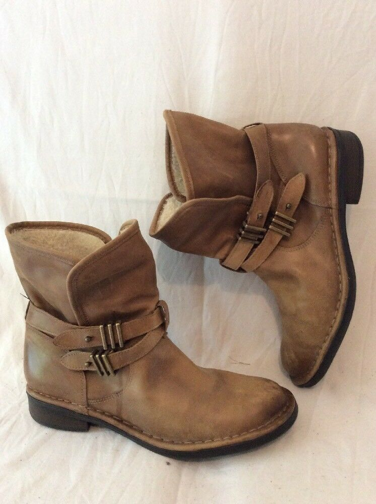 Next Brown Ankle Leather Boots Size 9