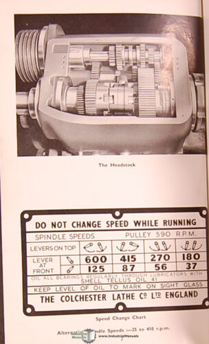 """Geared Head Lathe Colchester Mascot 8 1//2/"""" Instructions /& Spare Parts Manual"""