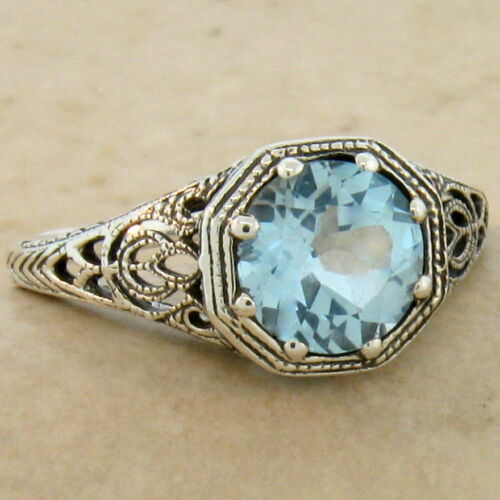 GENUINE BLUE TOPAZ ART DECO ANTIQUE STYLE 925 STERLING SILVER RING SIZE 10  #882