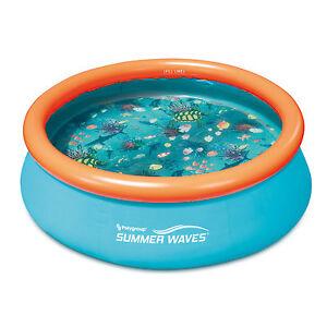 Summer-Vagues-petites-Kiddie-8-039-Gonflable-Enfants-Piscine-avec-3D-etage-Pattern