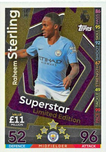Match Attax EXTRA 2018//19 Raheem Sterling Superstar Limited Edition LE16 Comme neuf