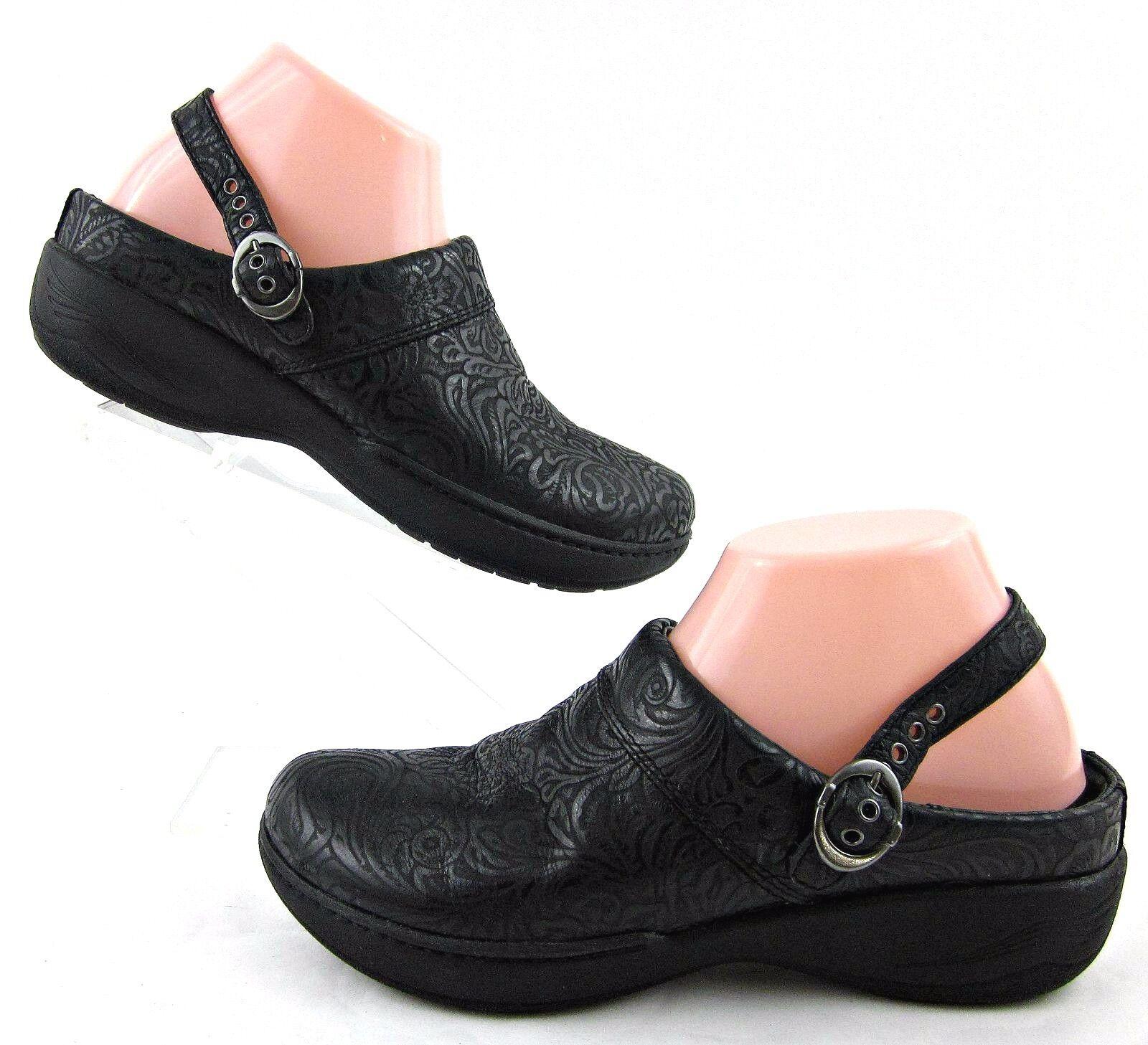Dansko Slide Congreenible Strap Clogs Black Embossed Embossed Embossed Leather EU 38   US 7.5-8 541290